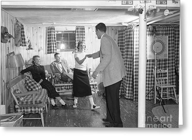 Teens Dancing In Rec Room, C.1950s Greeting Card by H. Armstrong Roberts/ClassicStock