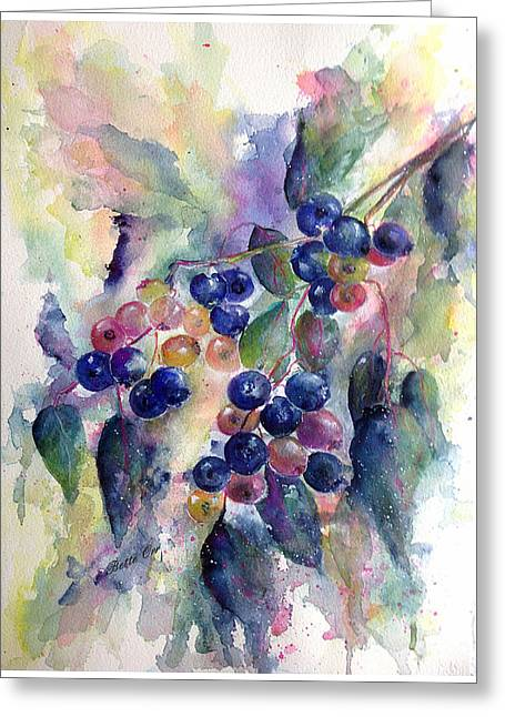 Berry Greeting Cards - Teenys Blueberries  Greeting Card by Bette Orr