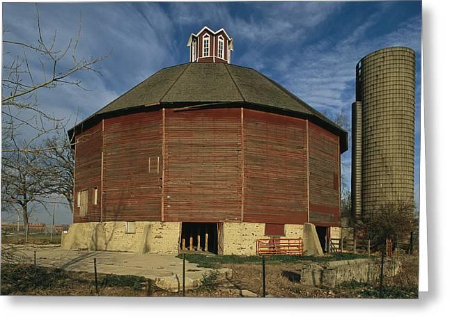 Illinois Barns Greeting Cards - Teeple Barn, Built Circa 1885 By Dairy Greeting Card by Ira Block