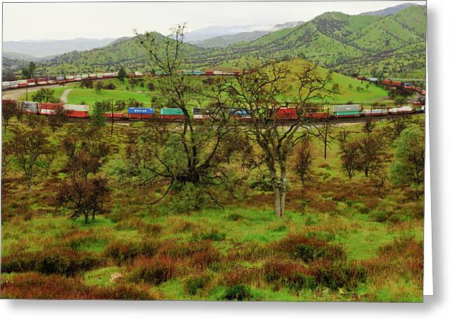 Steel. Grass Greeting Cards - Tehachapi Train Loop Greeting Card by Connie Cooper-Edwards