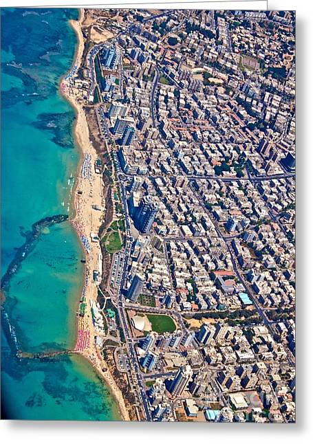 Yafo Greeting Cards - Tel Aviv from Above Greeting Card by Jenn Bodro