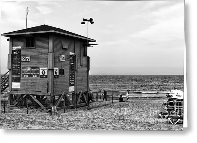 Tels Greeting Cards - Tel Aviv Lifeguard Hut Greeting Card by John Rizzuto