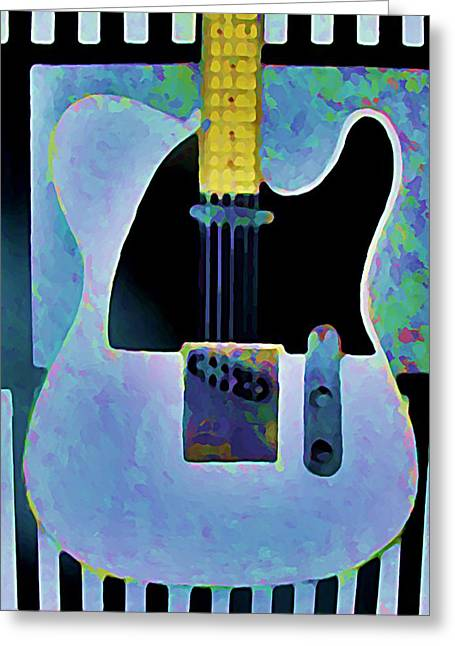 Tele  With Stripes Greeting Card by Gregory McLaughlin
