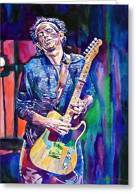 Musicians Paintings Greeting Cards - Telecaster- Keith Richards Greeting Card by David Lloyd Glover