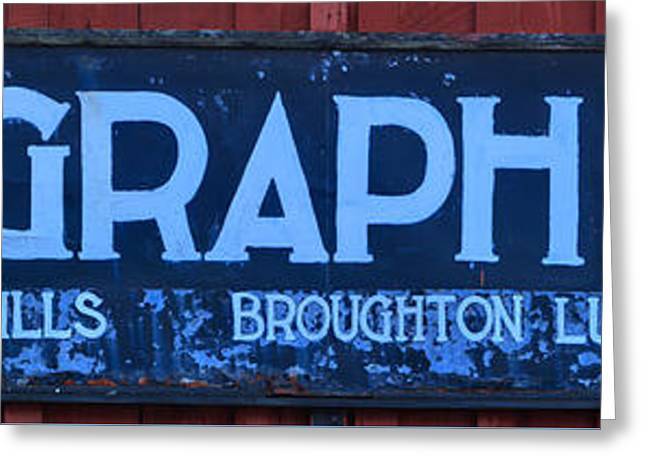Telegraph Cove Sign Panorama Greeting Card by Adam Jewell