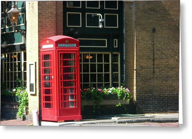 Red Photographs Pastels Greeting Cards - Telephone Booth Greeting Card by Michael McKenzie