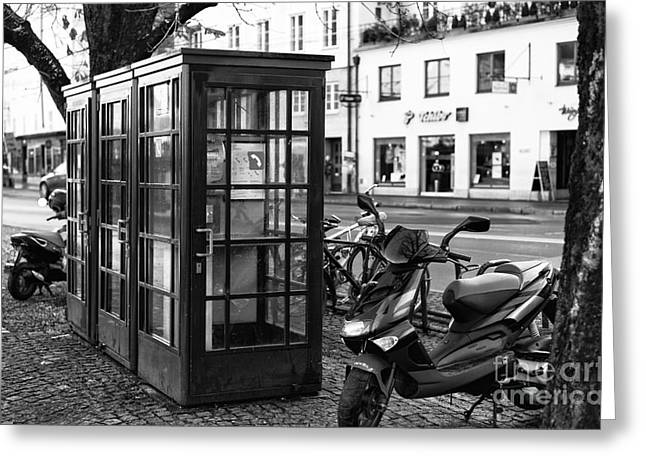 Salzburg Greeting Cards - Telephone Booths in Salzburg Greeting Card by John Rizzuto