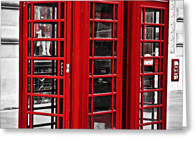 Telephone boxes in London Greeting Card by Elena Elisseeva