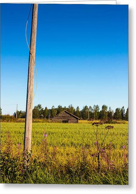 Field. Cloud Greeting Cards - Telephone Pole And An Old Barn Greeting Card by Jukka Heinovirta
