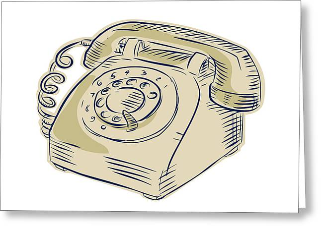 Etching Digital Greeting Cards - Telephone Vintage Etching Greeting Card by Aloysius Patrimonio
