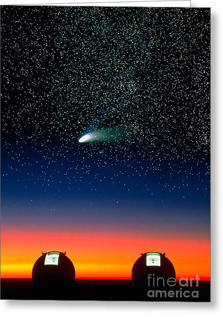 Telescope Domes Greeting Cards - Telescope Domes and Hale-Bopp Comet Greeting Card by David Nunuk