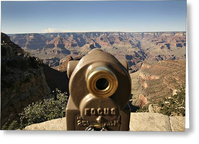 The Grand Canyon Greeting Cards - Telescope On The Edge Of Grand Canyon Greeting Card by Dawn Kish