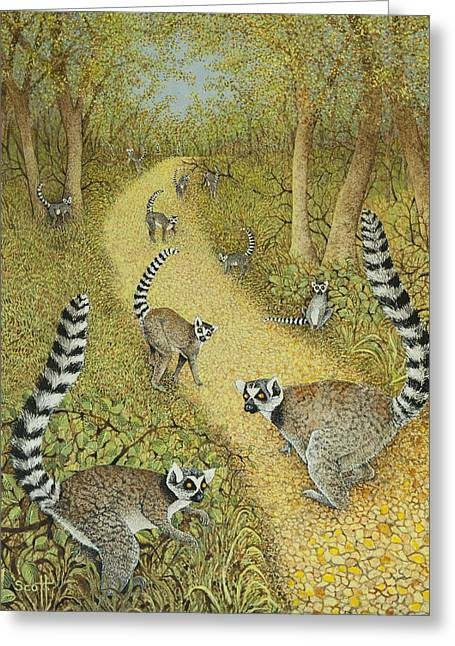 Groups Of Animals Greeting Cards - Telling Tales Greeting Card by Pat Scott
