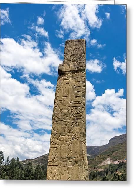 Civilization Greeting Cards - Tello Obelisk at Chavin de Huantar Greeting Card by Jess Kraft