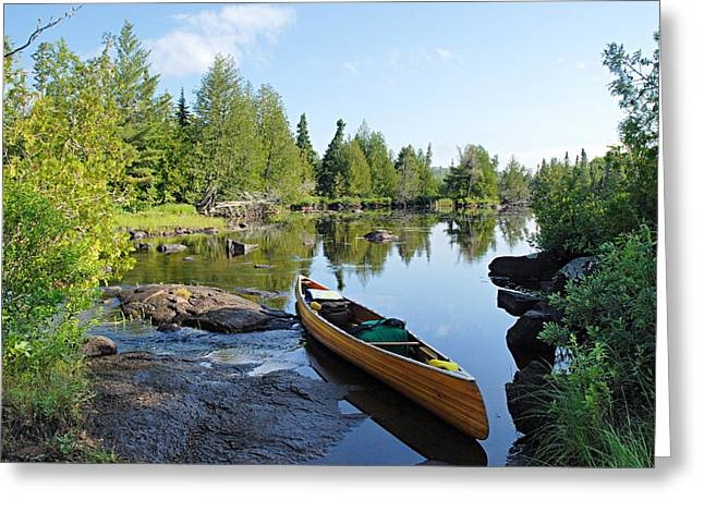 Best Sellers -  - Canoe Greeting Cards - Temperance River Portage Greeting Card by Larry Ricker