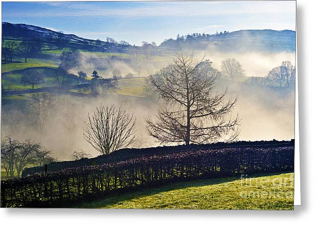Temperature Inversion Greeting Cards - Temperature inversion over Troutbeck. Greeting Card by Stan Pritchard