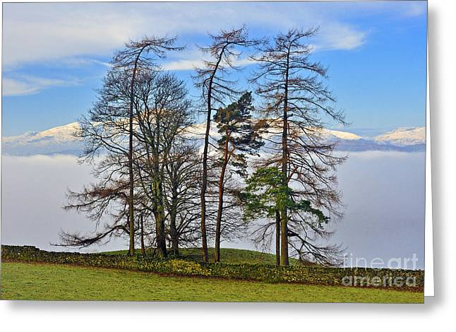 Temperature Inversion Greeting Cards - Temperature inversion over Windermere. Greeting Card by Stan Pritchard