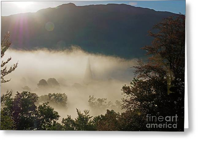 Temperature Inversion Traps Mist Over Ambleside Greeting Card by Louise Heusinkveld