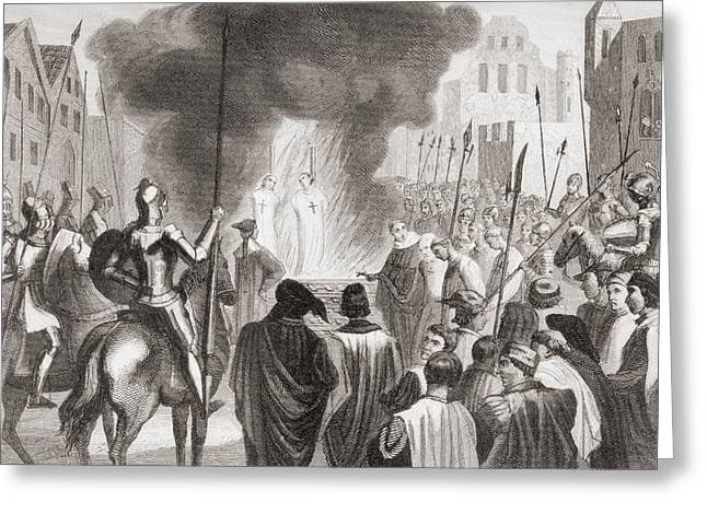 Martyr Drawings Greeting Cards - Templars Being Burnt At The Stake. From Greeting Card by Ken Welsh
