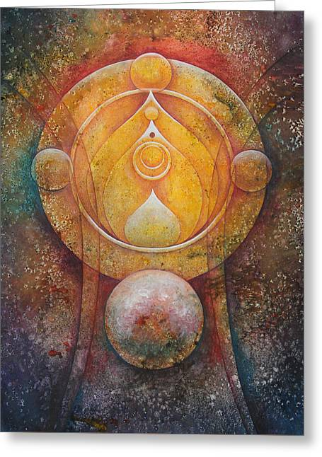 Transformations Paintings Greeting Cards - Temple #1 Greeting Card by Ellen Starr