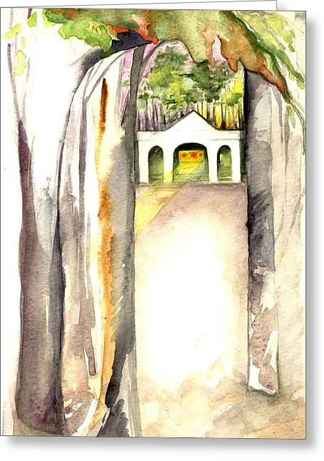 Wood Painitng Greeting Cards - Temple and Trees Greeting Card by Marcia Masino