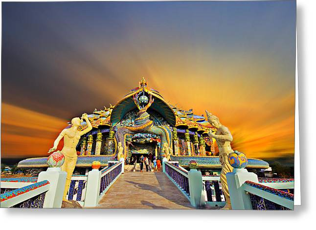 Town Sculptures Greeting Cards - Temple At Twilight In Thailand Greeting Card by Kriangkrai Netnangrong