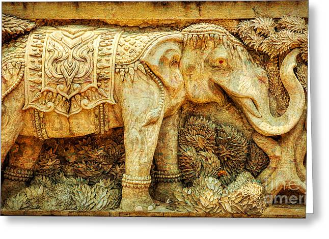 Temple Elephant Greeting Card by Adrian Evans