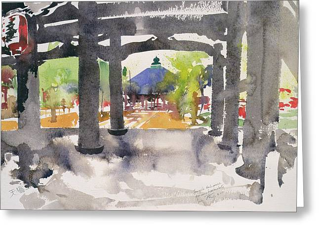 Shinto Greeting Cards - Temple Entrance Greeting Card by Simon Fletcher