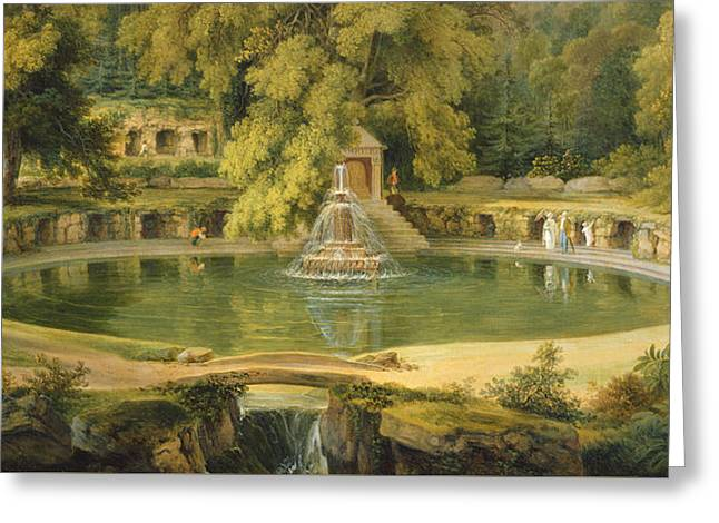 Water In Cave Greeting Cards - Temple Fountain and Cave in Sezincote Park Greeting Card by Thomas Daniell