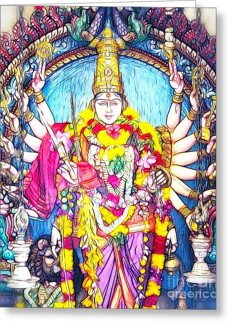 Hindu Goddess Greeting Cards - Temple Goddess Greeting Card by White Stork Gallery