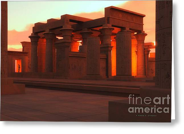 Pharaoh Greeting Cards - Temple of Ancient Pharaohs Greeting Card by Corey Ford