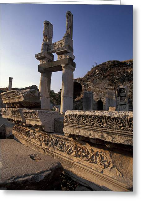 Domitian Greeting Cards - Temple Of Domitian In Ephesus, Turkey Greeting Card by Richard Nowitz