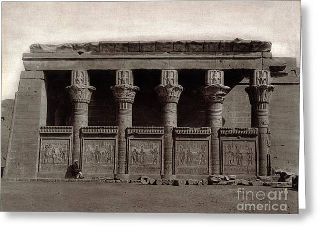 Temple Of Hathor, Early 20th Century Greeting Card by Science Source