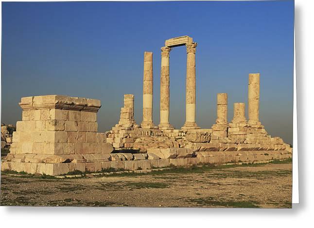 Historic Site Greeting Cards - Temple of Hercules Amman Citadel Jordan Greeting Card by Ivan Pendjakov