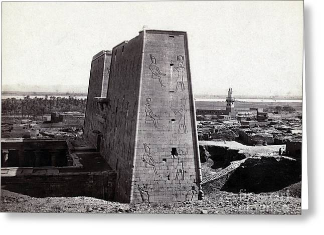 Temple Of Horus At Edfu, 1850s Greeting Card by Science Source