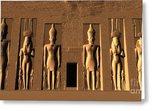 Hathor Digital Greeting Cards - Temple of Nefertari Greeting Card by Corey Ford