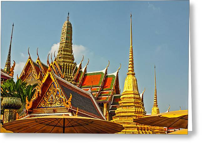 Historic Statue Greeting Cards - Temple Of The Emerald Buddha Greeting Card by Anonymous6059