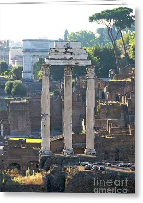 Lookout Greeting Cards - Temple of Vesta Arch of Titus. Temple of Castor and Pollux. Forum Romanum Greeting Card by Bernard Jaubert
