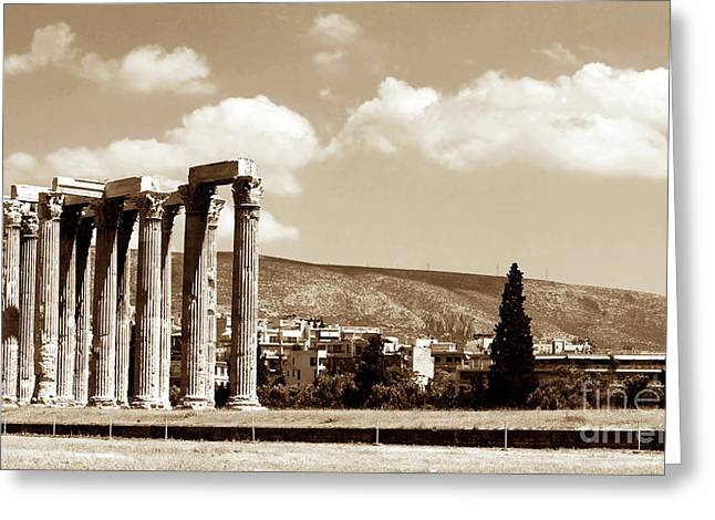Greek School Of Art Greeting Cards - Temple of Zeus Greeting Card by John Rizzuto