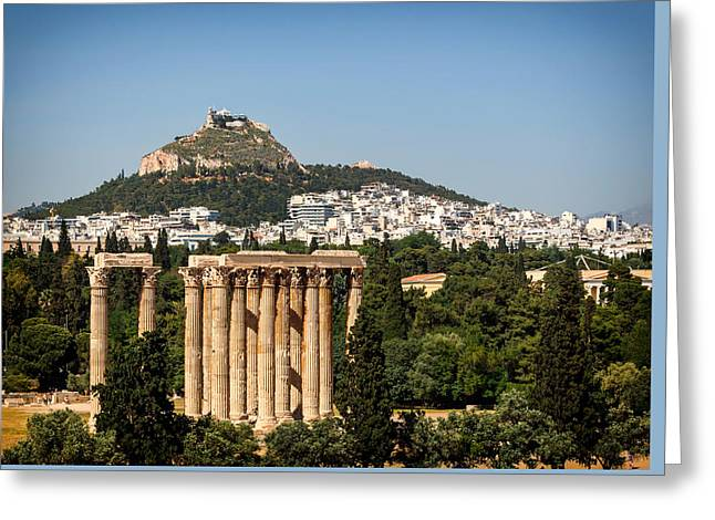 Athens Ruins Greeting Cards - Temple Of Zeus To Mount Lycabettus - Athens Greeting Card by Jebulon