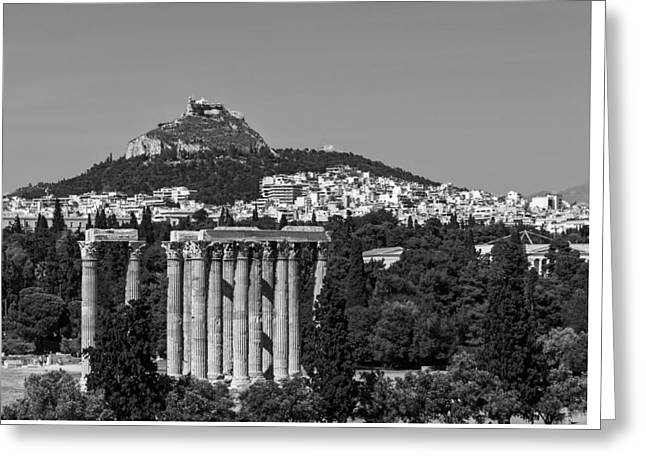 Athens Ruins Greeting Cards - Temple Of Zeus To Mount Lycabettus Greeting Card by Jebulon
