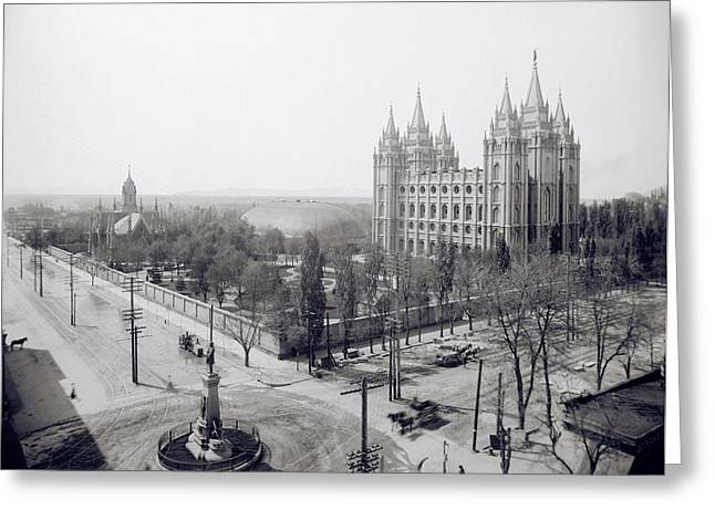 Mormon Tabernacle Greeting Cards - TEMPLE SQUARE in WINTER - SALT LAKE CITY -  1905 Greeting Card by Daniel Hagerman