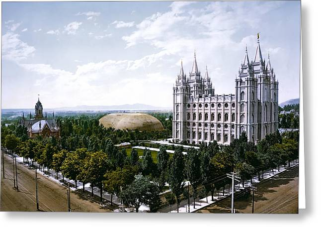 Mormon Tabernacle Greeting Cards - Temple Square - Salt Lake City - 1899 Greeting Card by Daniel Hagerman