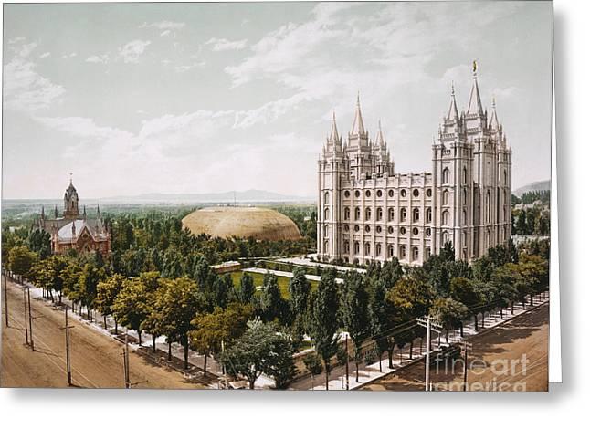 Salt Lake City Temple Greeting Cards - Temple Square Salt Lake City Greeting Card by Celestial Images