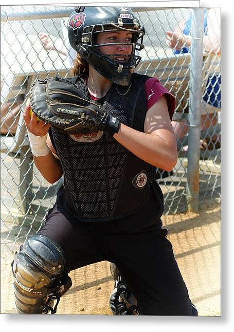 Umass Greeting Cards - Temple University Bullpen Catcher Greeting Card by Mike Martin