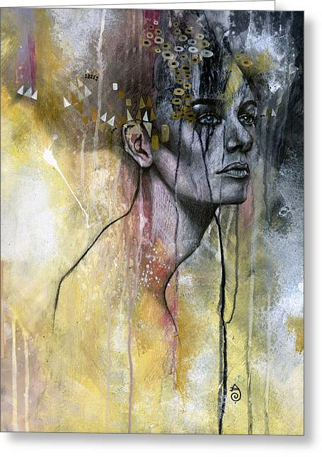 Female Faces Greeting Cards - Temporal Greeting Card by Patricia Ariel