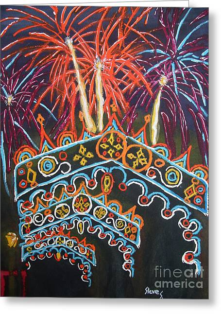 Recently Sold -  - Pyrotechnics Greeting Cards - Temporary Towers Greeting Card by Stephen Strohschein