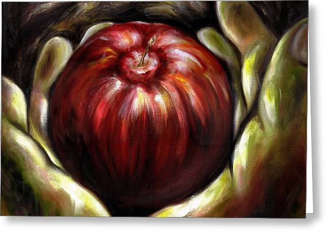 Fruit Food Greeting Cards - Temptation... Adams dilemma Greeting Card by Hiroko Sakai