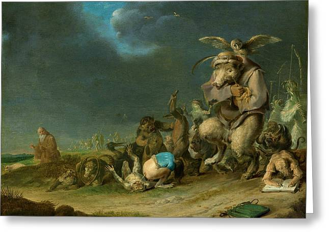 Bible Scene Greeting Cards - Temptation of Saint Anthony Greeting Card by Cornelis Saftleven