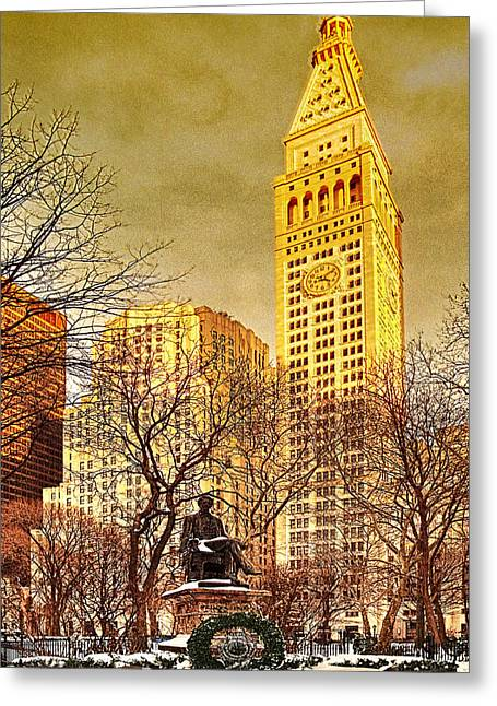 Winter Time Greeting Cards - Ten Past Four at Madison Square Park Greeting Card by Chris Lord